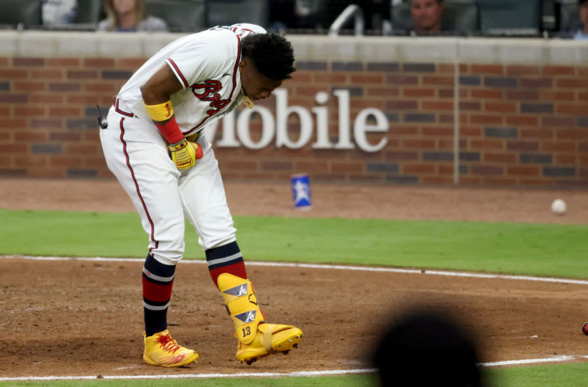 Watch Ronald Acuña step towards the mound after another Marlins HBP (Video)